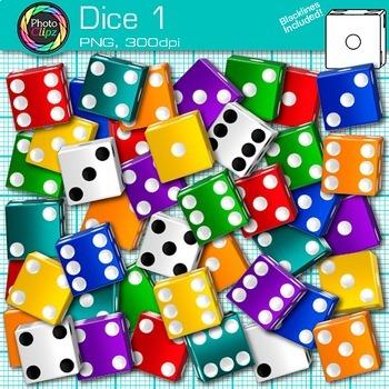 Dice Clip Art 1 - Counting Math Manipulatives Clip Art - M