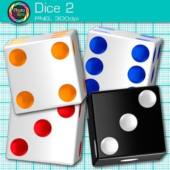 Rainbow Dice Clip Art {Math Manipulatives for Center Activities and Games} 2