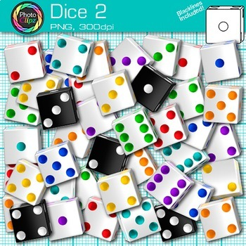 Dice Clip Art 2 - Counting Math Manipulatives Clip Art - M