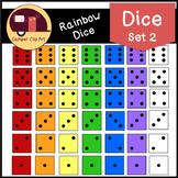 Rainbow Dice Clip Art + Black & White Dice {CU - ok!}