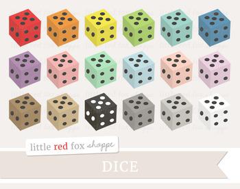Dice Clipart; Casino, Gambling, Game Piece