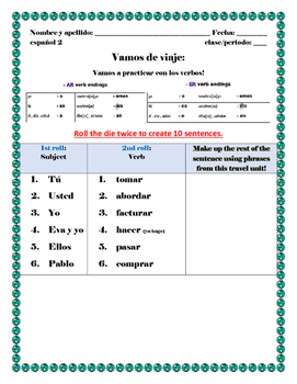 Dice Conjugation Activity Travel Vocab (Avancemos 2 U1L1)