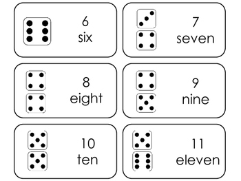 Dice Counting printable Picture Word Flashcards. Math flashcards.