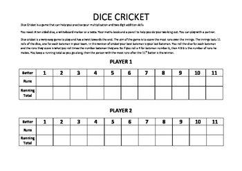 Dice Cricket - Multiplication and Addition Practice