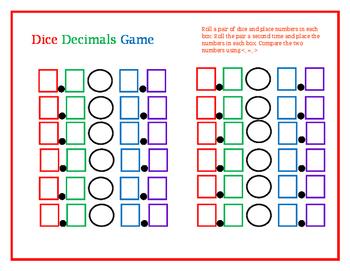 Dice Decimals game