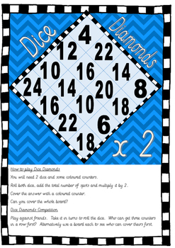 Dice Diamonds Multiplication Game