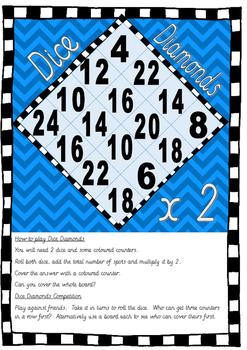 Dice Diamonds Multiplication Game up to 12 x 12