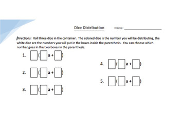 The Distributive Property with Dice Activity