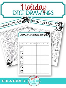 Christmas Scene Drawing.Dice Drawing Holiday Roll A Christmas Scene Snowman