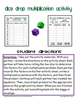 Dice Drop Multiplication Activity