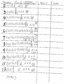 Dice Experiment Sheet with Sample Space and Probabilities (common core)