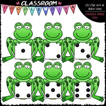 Dice Frogs Clip Art - Frog Math Clip Art