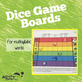 Multisyllable Word Practice Dice Game Boards