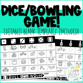 Dice Game Editable Game Sheet - Bowling Version included too!