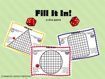 Dice Game- Fill It In (3 game boards)