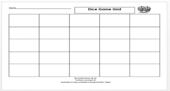 Dice Game Grid for Independent Practice of Multiple Math Skills