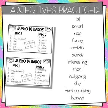 Dice Game (Juego de Dados) - Adjective Agreement