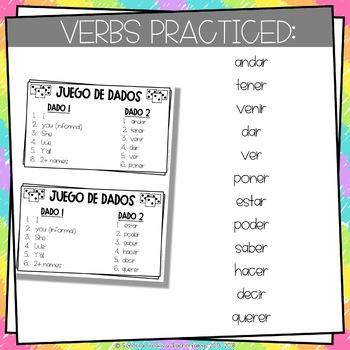 Dice Game (Juego de Dados) - Irregular Verbs in the Preterite Tense