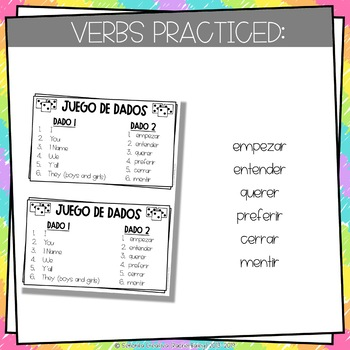 Dice Game (Juego de Dados) - Stem-Changing Verbs in the Present Tense (E to IE)