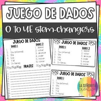 Dice Game (Juego de Dados) - Stem-Changing Verbs in the Present Tense (O to UE)