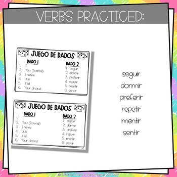 Dice Game (Juego de Dados) - Stem-Changing Verbs in the Preterite Tense