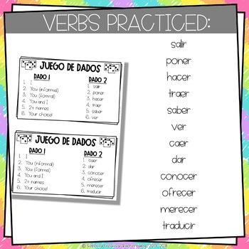 Dice Game (Juego de Dados) - Verbs with Irregular Yo Forms in the Present Tense