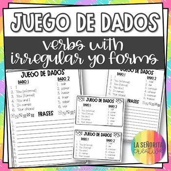 Dice Game (Juego de Dados) - Verbs with Irregular Yo Forms
