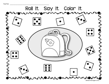 Dice Game: {Roll It. Say It. Color It.} Supports Kindergarten Common Core