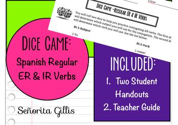 Dice Game Spanish Regular ER IR Verb Practice
