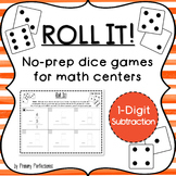 Dice Game for Math Centers - 1-digit Subtraction