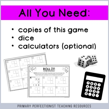 Dice Game for Math Centers - 1x2-digit Multiplication