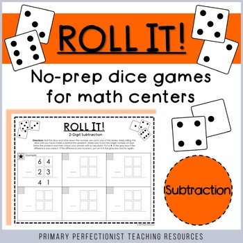 Dice Game for Math Centers - 2-digit Subtraction