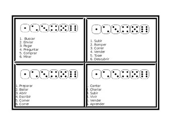 Dice Game for Regular Verbs in Spanish