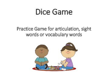 Dice Game Practice for Articulation, Sight words or Vocabulary words