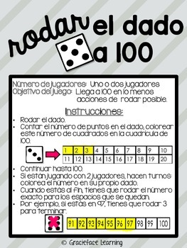Dice Games for the Bilingual Primary Classroom - Spanish!