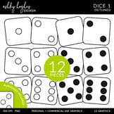 Dice 1 Clipart - Outlined - [Ashley Hughes Design]