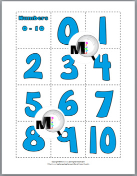Numbers and Cardinality Matching Game and Printables Numbers 1-10