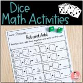 Dice Math Worksheets for Kindergarten Math Centers