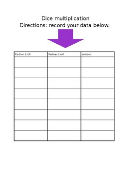 Dice Multiplication Data Recording Sheet