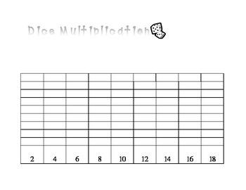 Dice Multiplication Math Game