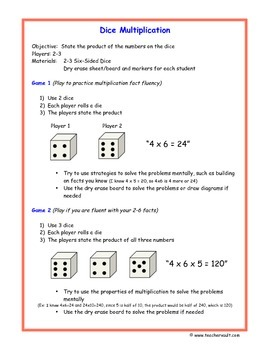 Dice Multiplication Math Game - Math Centers