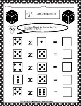 Dice Multiplication: Multiples of 5 Worksheet