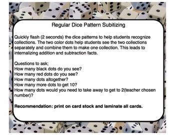 Dice Pattern Subitizing Cards