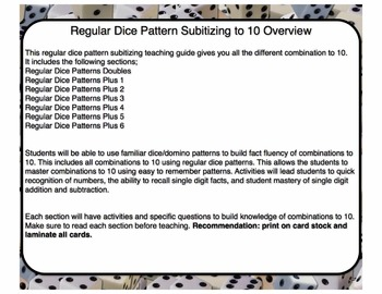 Dice Pattern Subitizing Combinations to 10