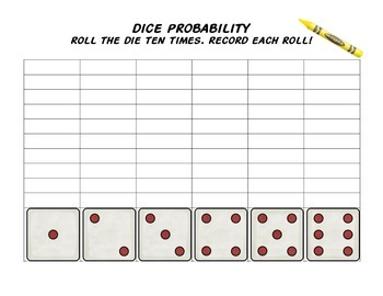 dice probability activity sheet by emma hannan tpt. Black Bedroom Furniture Sets. Home Design Ideas