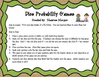 Dice Probability Math Games