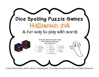 Dice Puzzle Spelling Games-Halloween