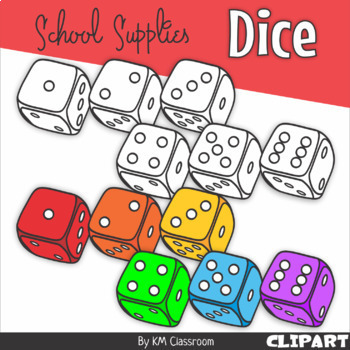 Dice Rainbow School Supplies Clip Art