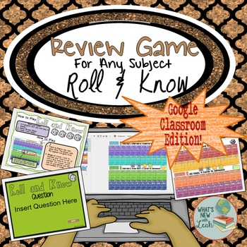 Dice Review Game for Google Classroom and Microsoft One Drive