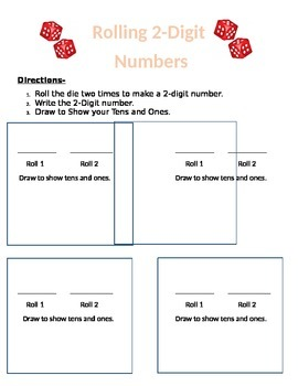 Dice Roll, Draw, Add and Subtract Tens and Ones